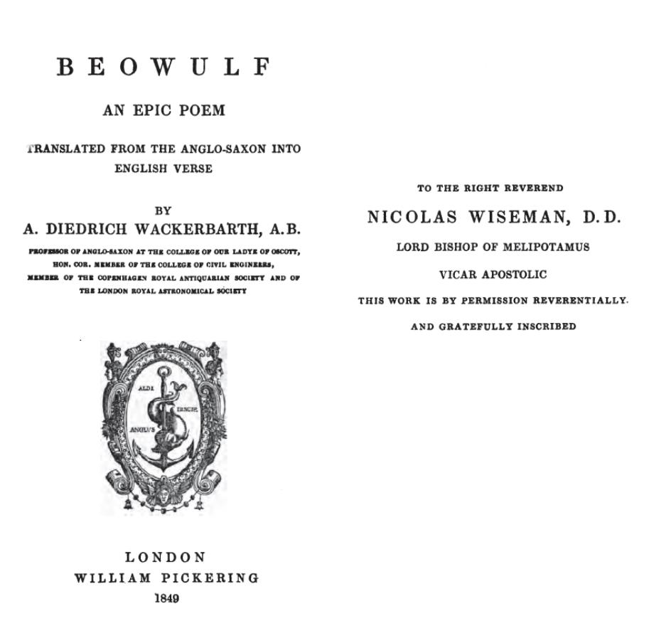 Beowulf: An Epic Poem Translated From The Anglo-Saxon Into English